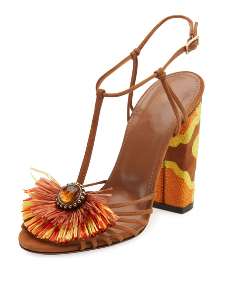 Aquazzura Samba Raffia T-Strap 105mm Sandal, Luggage