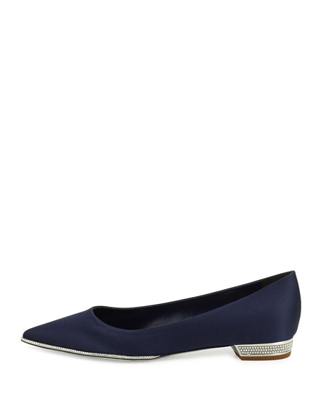 Strass-Embellished Satin Skimmer, Navy