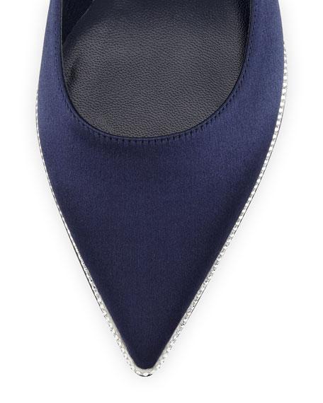 Strass-Embellished Satin Skimmer, Navy