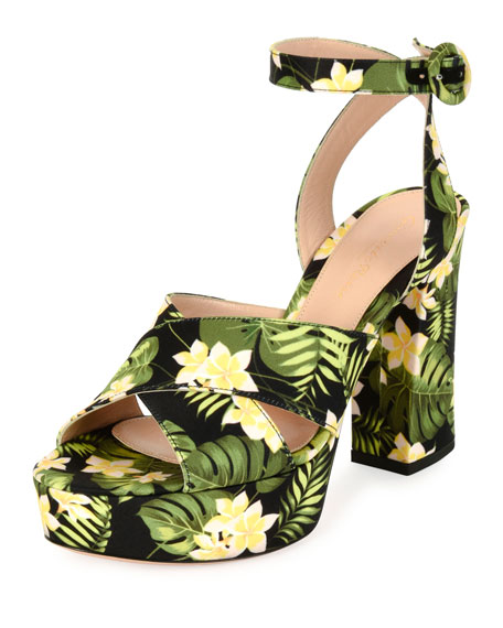 Floral-Print Platform Sandal, Mustard