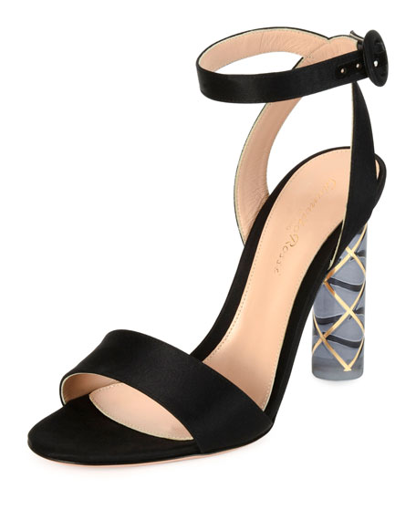 Satin Ankle-Wrap Plexi-Heel Sandal, Black