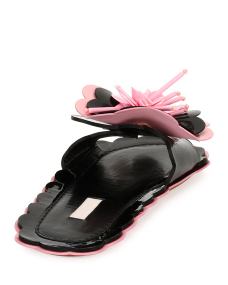 Patent Flower Flat Slide Sandals, Black/Pink