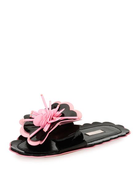 Miu miu patent flower flat slide sandal blackpink mightylinksfo Gallery