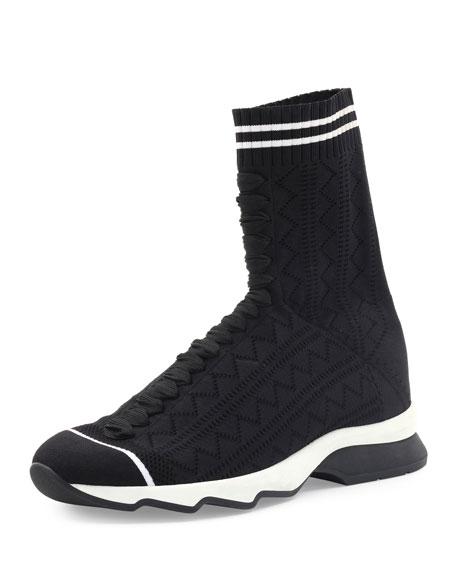 Fendi Zigzag-Knit Sock Sneaker