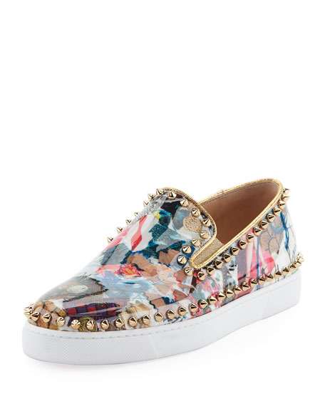 Christian Louboutin Pik Boat Spiked Patent Flat Sneaker,