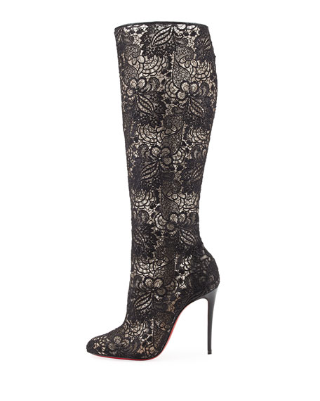 Tennissima Net Lace Red Sole Boot, Black