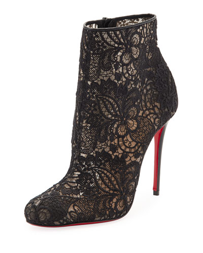 Miss Tennis Net Lace Red Sole Bootie, Black