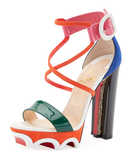 Christian Louboutin Olympika Colorblock Red Sole Sandal, Multi