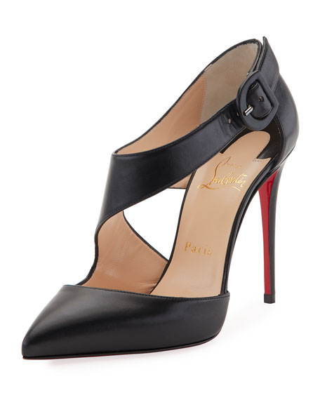 Shrpeta Napa Asymmetric Cutout Red Sole Pump, Black