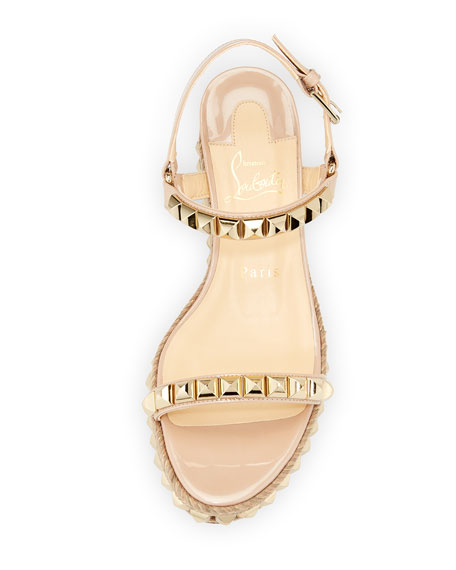 Cataclou Two-Band Red Sole Wedge Sandal, Nude