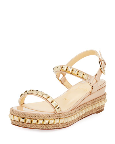 Cataclou Two-Band Red Sole Wedge Sandal, Nude Quick Look. Christian  Louboutin