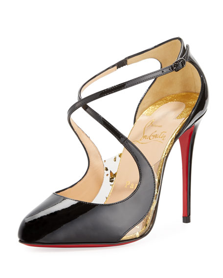Christian Louboutin Crossettinetta Patent Red Sole Pump, Black