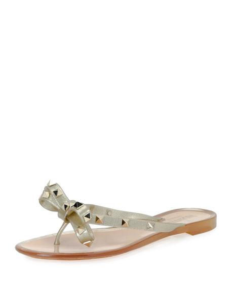 Rockstud PVC Flat Thong Sandals, Gold