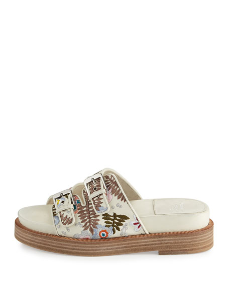 Kerlin Embroidered Slide Sandal, Off White