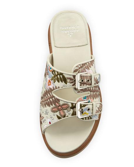 Kerlin Embroidered Slide Sandal, Off White