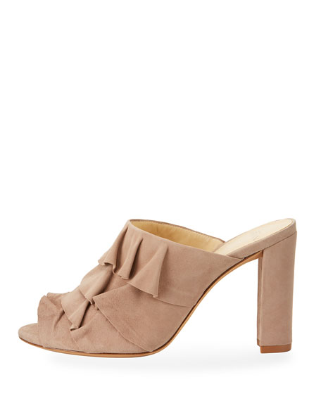 Mili Tiered Suede Mule Sandal, Cameo