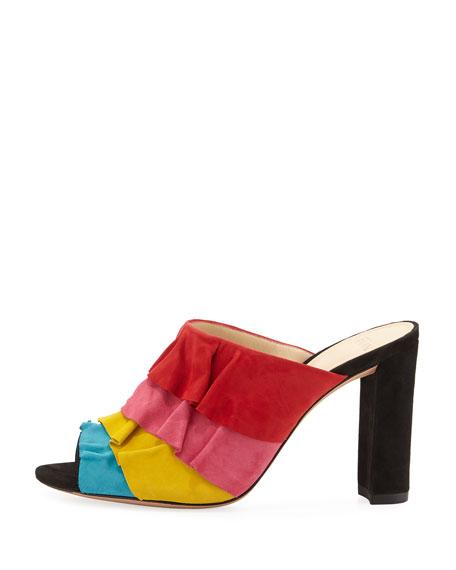 Mili Ruffled Suede Mule Sandal, Multi