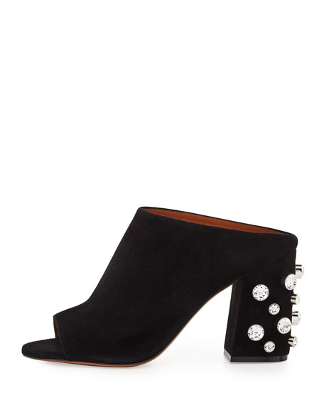 Paris Studded Suede Mule Sandal, Black