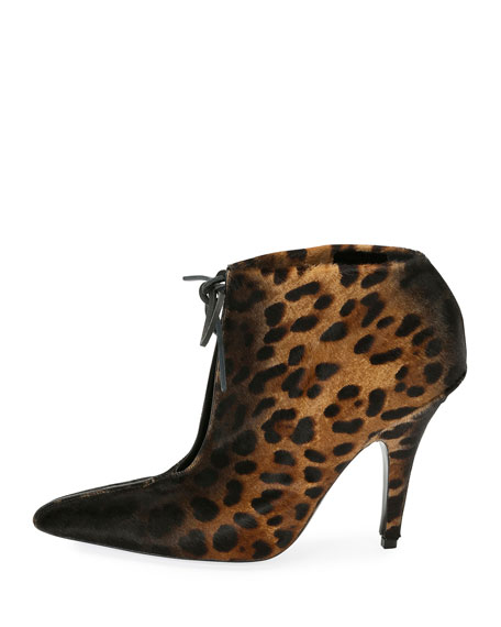 Leopard-Print Ankle-Tie 105mm Bootie, Black/Multi