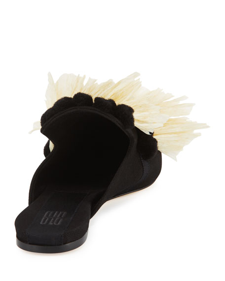 Ruffled Raffia Mule Slide, Black