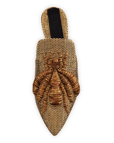 Ragno Embroidered Mule Slide, Gold