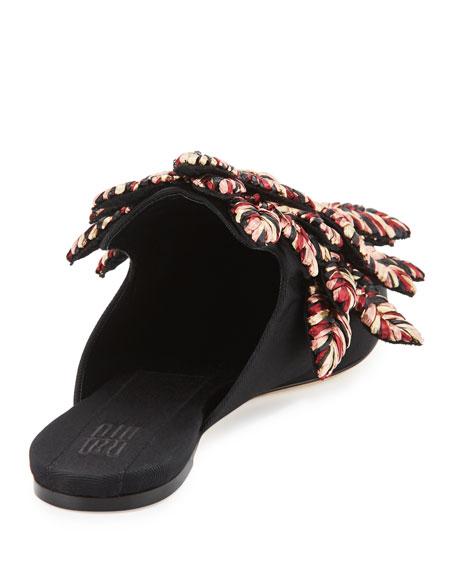 Curcuma Woven Raffia Mule Slide, Black Pattern