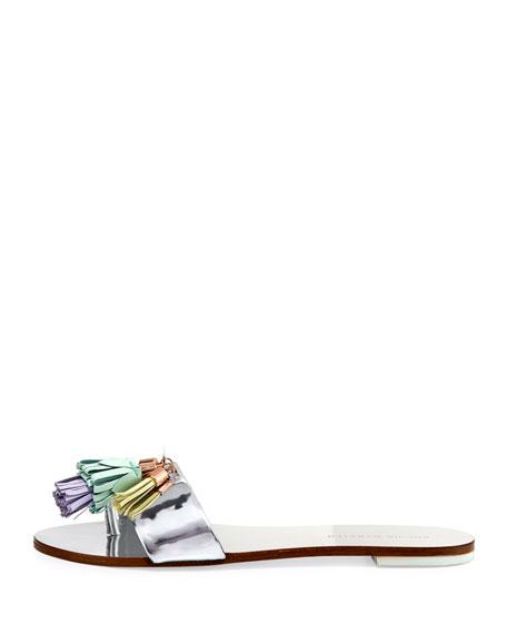Jada Flat Tassel Slide Sandals, Silver
