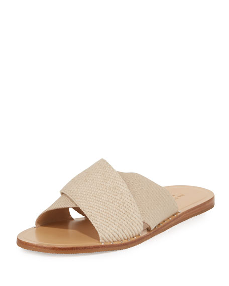 Keaton Flat Crisscross Canvas Slide Sandals, Neutral