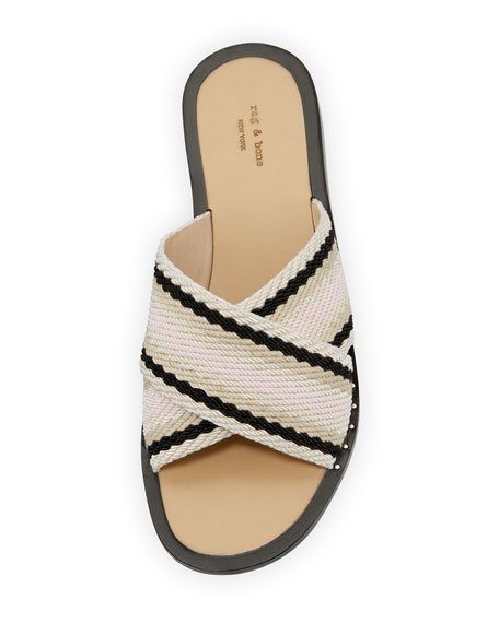 RAG&BONE Keaton Crisscross Cotton Slides SUskzN