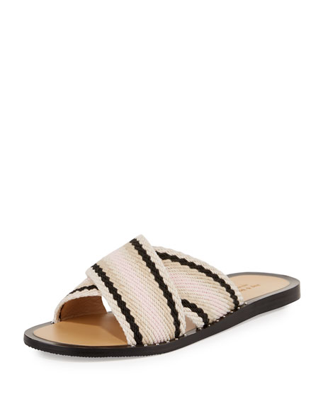 Keaton Flat Crisscross Slide Sandal, Red/Multi