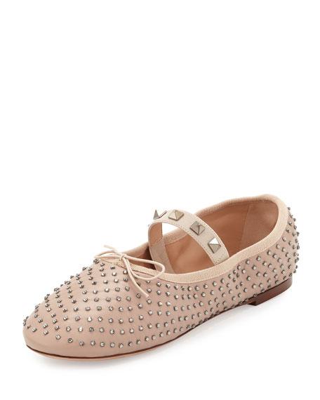 2f1a807566eb Valentino Garavani Rockstud Crystal Leather Ballet Flats