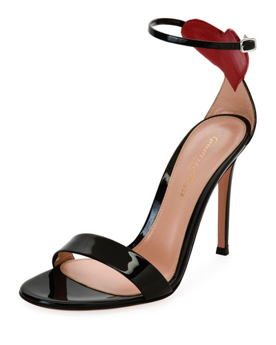 Love Heart Patent 105mm Sandal, Black/Red