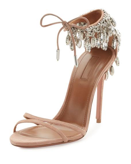Aquazzura Eden Crystal-Embellished Sandal, Powder Pink