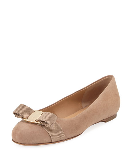 Suede Bow Ballerina Flat, Nude