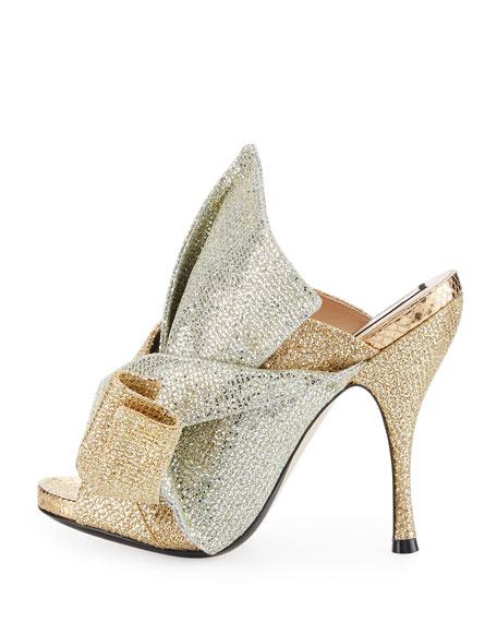 Glittered 100mm Mule Sandal, Gold