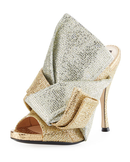 Glittered 100mm Mule Sandal, Gold