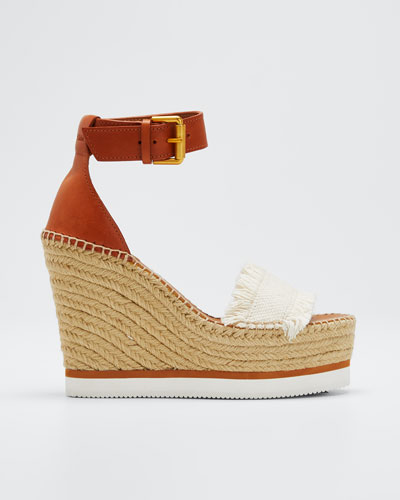 Glyn Canvas & Leather Espadrille Sandal  Cream/Tan