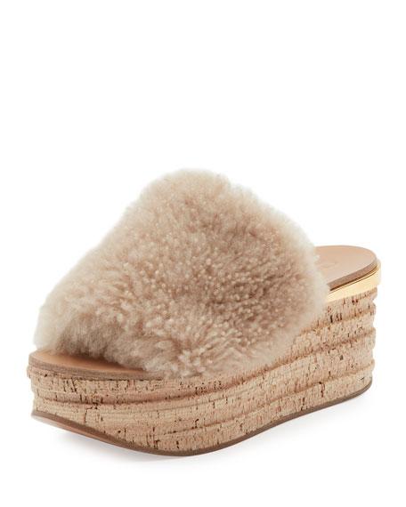 Chloe Camille Shearling Fur Platform Slide Sandal, Sand