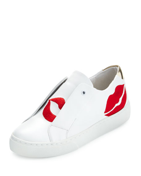 Scarlett Lip-Embroidered Sneaker, White/Red