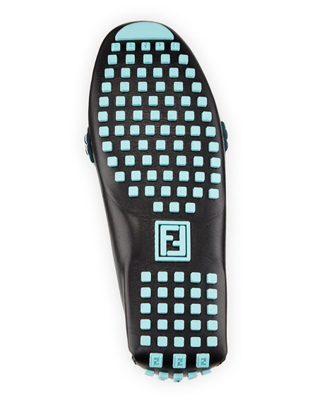 Beaded Leather Driver, Black