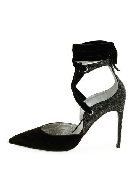 Velvet Crisscross Ankle-Wrap Pump, Black Pattern