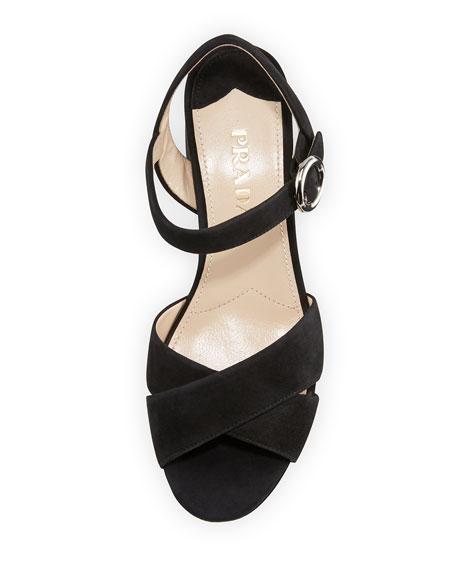 Suede Crisscross Ankle-Wrap 65mm Sandal