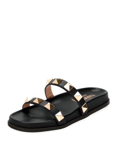 Rockstud Leather Two-Band Slide Sandal