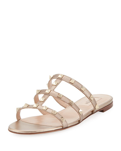 Rockstud Leather Flat Slide Sandal, Skin Metallic
