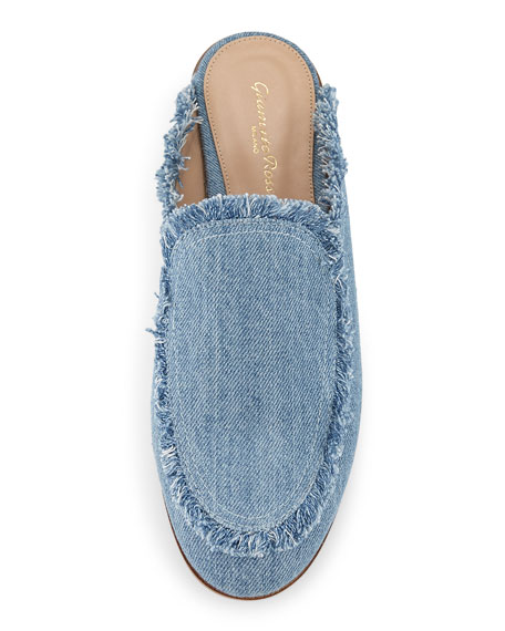 Frayed Denim Loafer Mule Flat, Blue