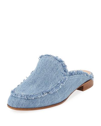 Frayed Denim Loafer Mule Flat, Blue
