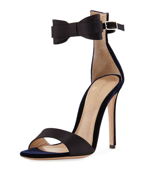 Two-Tone Bow-Tie d'Orsay Sandal, Blue/Black