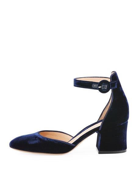Camille Velvet Block-Heel d'Orsay Pump