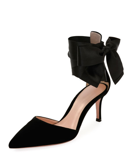 Velvet Ankle-Tie Point-Toe Pump, Black