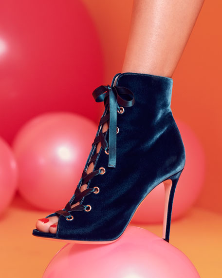 Marie Velvet Lace-Up Open-Toe Boot